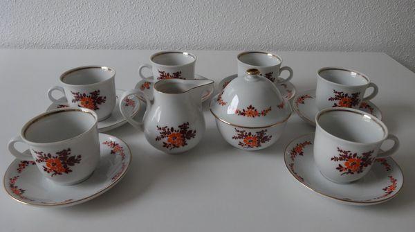 Langenthal Kaffeegedeck bestehend aus Tasse /& Teller Golddekor Flower Design