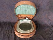 Antiker Koffer-Plattenspieler Hutschachtel 50er