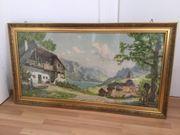 Bild mit goldenem Rahmen Bauernhaus