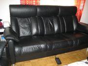 Couchgarnitur Leder, schwarz