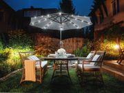 Sonnenschirm LED-Beleuchtung Ø266 cm dunkelgrau