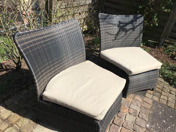 Loungemöbel, 2 Designer Sessel Polyrattan mit Auflagen, braun in ...