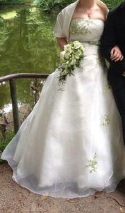 Brautkleid ivory grün Schnürung