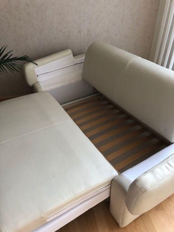 2 Sitzer Sofa Mit Liegefunktion Lederimitat In Hellem Beige In