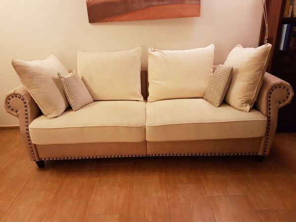 Couch Sofa Polstermöbel 3 Sitzer Stoff Beige Mit Dekonägeln
