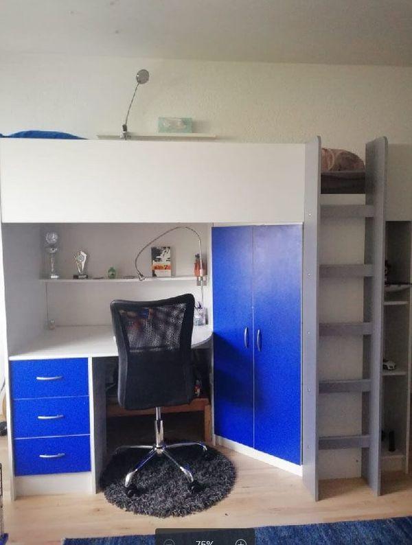 Hochbett mit integriertem Schrank und Schreibtisch in weiß / blau in ...