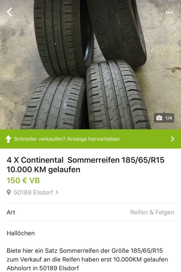 4X Continental Sommerreifen » Sommer 165 - 185