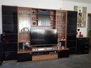 Wohnwand mit TV Lowboard Nussbaum