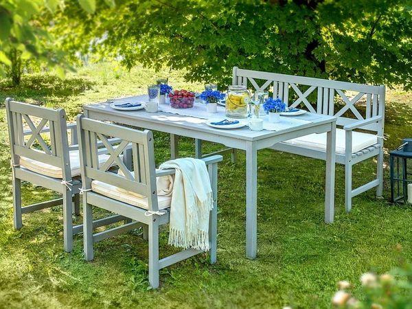 Gartenmobel Set Holz Grau 4 Sitzer Auflagen Beige Modica Beliani In