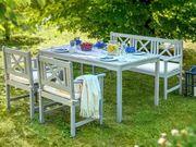 Gartenmöbel Set Holz grau 4-Sitzer