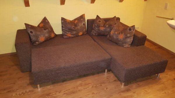 Sofa Couch Ausziehbar Braun Staufach Tier Und Rauchfrei In