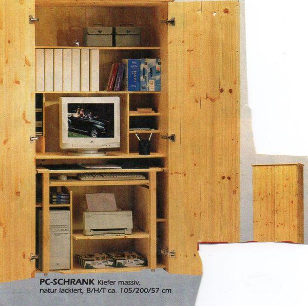 Pc Schrank Schreibtisch Schrank Hochschrank Kiefer Massiv In