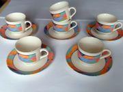 6 Tasssen und 5 Unterteller