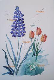 Blue Mood Aquarell Bild Malerei