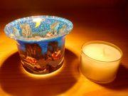 Votivglas Teelichthalter Leuchtglas Schnee Dorf