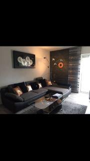 Couch leder schwarz und grau