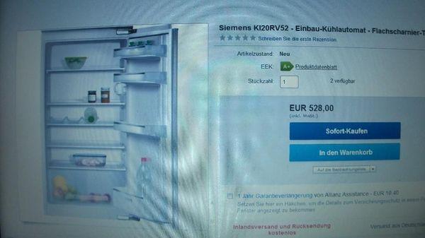Aeg Kühlschrank Integrierbar 122 Cm : Siemens einbau kühlschrank ki rv in trochtelfingen kühl