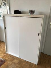 Praktischer Aufbewahrung-Schrank m Schiebetüren weiß