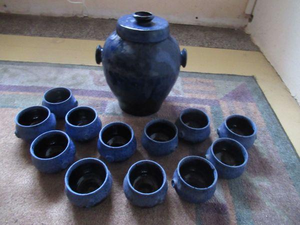 Steingut Keramik bowle rumtopf früchtetopf steinzeug steingut keramik blau 12