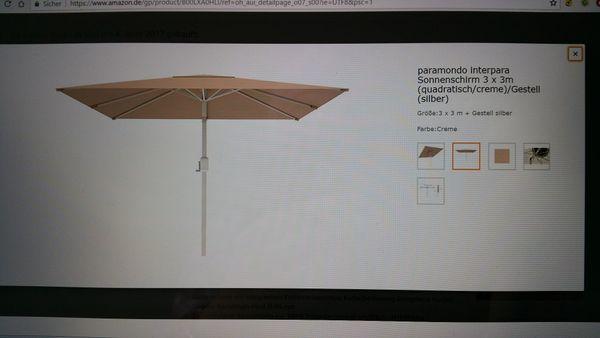 Sonnenschirm Paramondo 3x3m Ungeoffnet Gunstig Abzugeben In