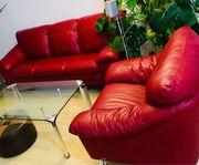 Rote Leder Couch Garnitur