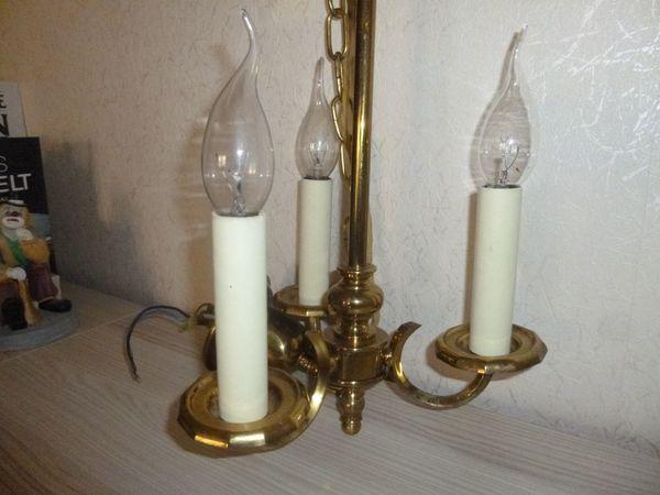 Spiegel- (Regal-) Lampe / Kronleuchter aus Messing/ Lampenschirm in ...