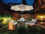 Sonnenschirm LED-Beleuchtung Ø266 cm beige