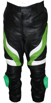 Motorradhose Rindsleder schwarz grün