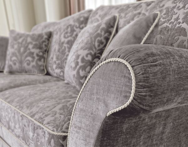 Klassische Polstermobel Sofa Couch 3 Sitzer Stoff Bezug Grau