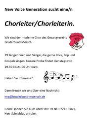 Chorleiterin/Chorleiter gesucht