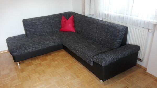 Couch L-Form grau-schwarz