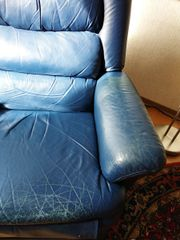 Ledersessel blau zu