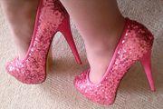 Rosé Palietten High Heels Pumps