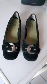Schuhe Ballerina schwarz Wildleder Nubuk