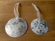 2 Weihnachtsbaum-Anhänger Muschel perlmuttartig Sterne