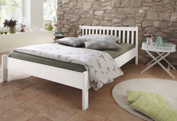 Neu Doppel Bett 180x200 Massiv Holz Weiß Landhausstil