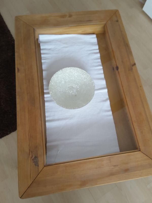 Couchtisch Holz Mit Schublade U Glasplatte In Maisach