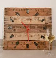 Wanduhr aus Weinkisten Weinsteigen Holzkisten