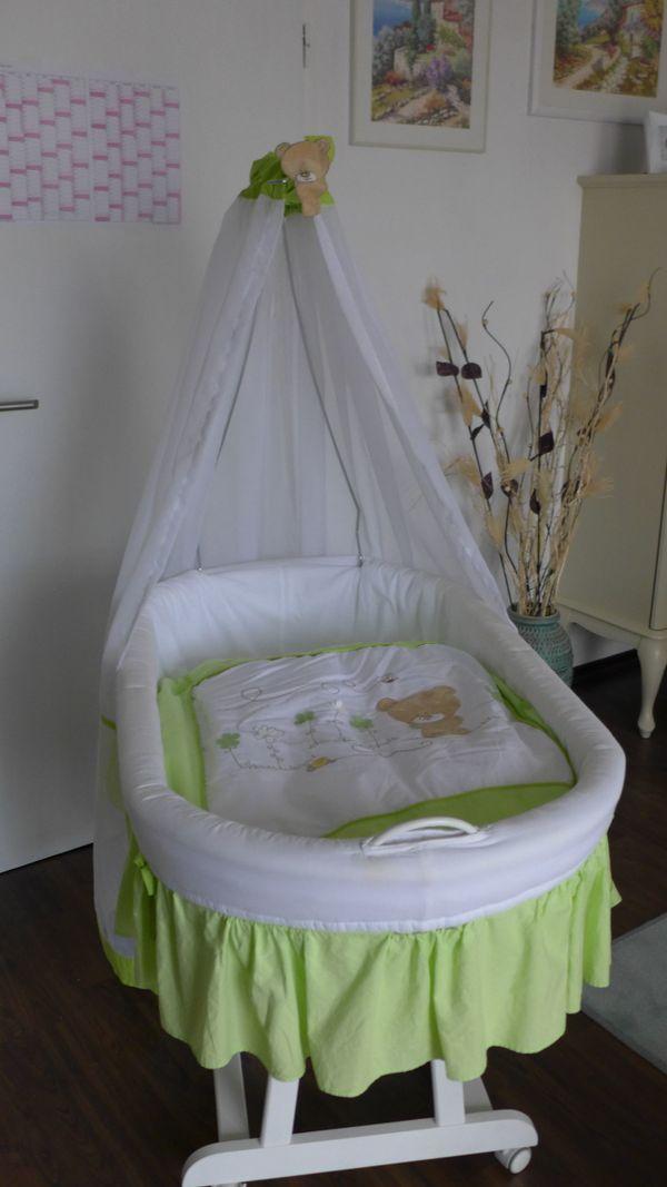 Stubenwagen weiß/apfelgrün » Wiegen, Babybetten, Reisebetten