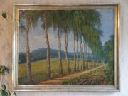 Landschafts-Ölgemälde Birkenallee