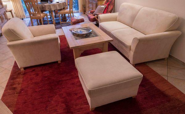 Sofa 2er Couch Couchgarnitur Sessel Hocker Beige Stoff Np 2500 Eur